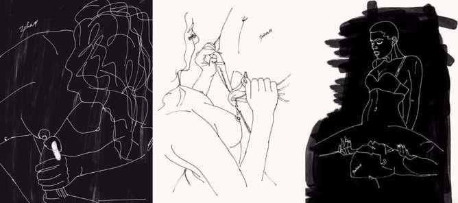 ilustraciones de lo que disfruta una mujer en la cama zipper-h600