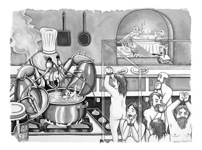 langosta ilustraciones sobre el lado mas oscuro del ser humano