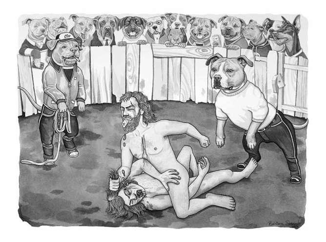 peleas ilustraciones sobre el lado mas oscuro del ser humano