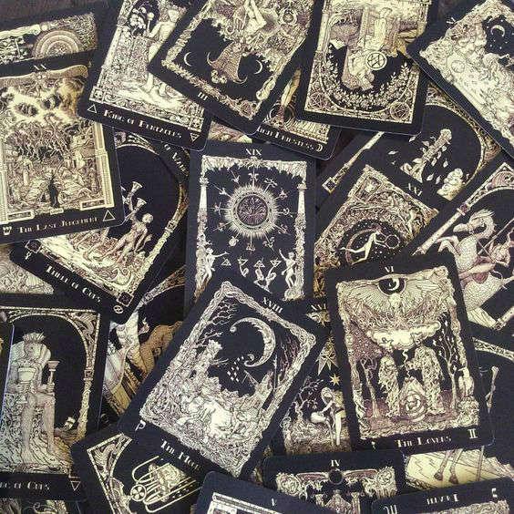 tarot tattoos deck black