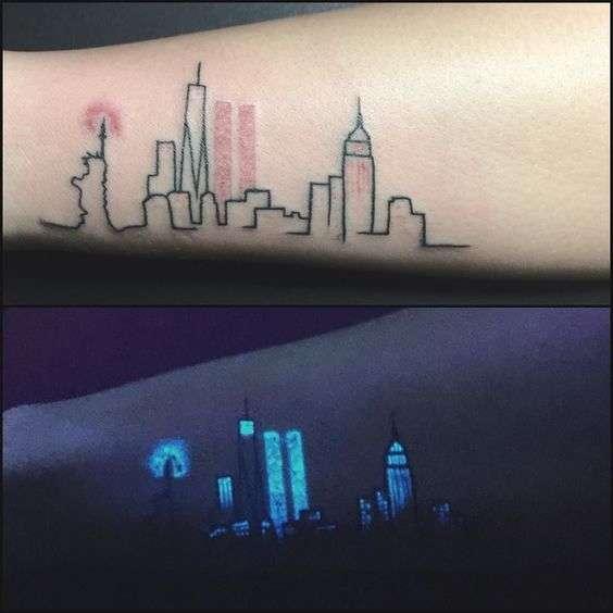 tatuajes en color neon ciudad