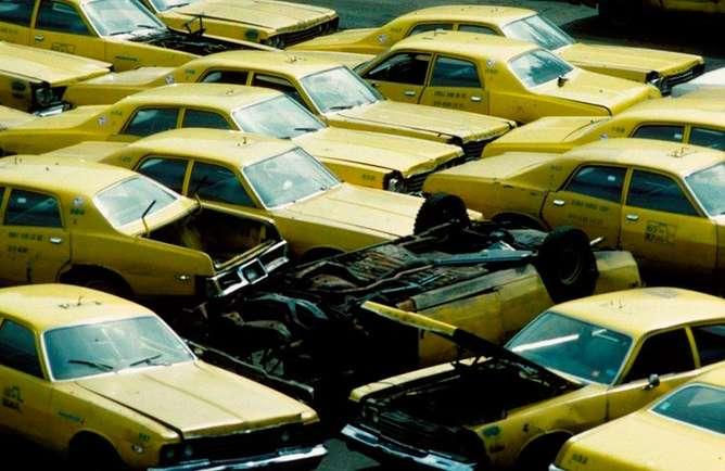 taxis fotografias de nueva york en los 80