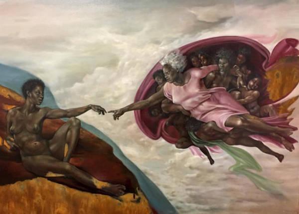 Harmonia Rosales black woman paintings creation of god-w600-h600
