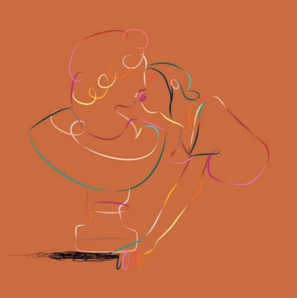 Marina Esmeraldo women illustrations kiss-w600-h600