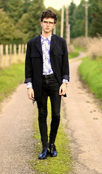 blazer negro camisa hawaina