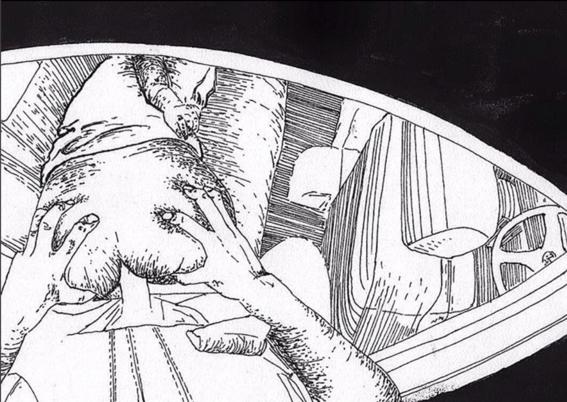 ilustraciones violencia y satisfaccion sexual coche