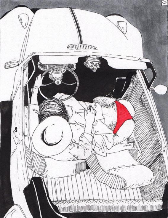 ilustraciones violencia y satisfaccion sexual oral carro