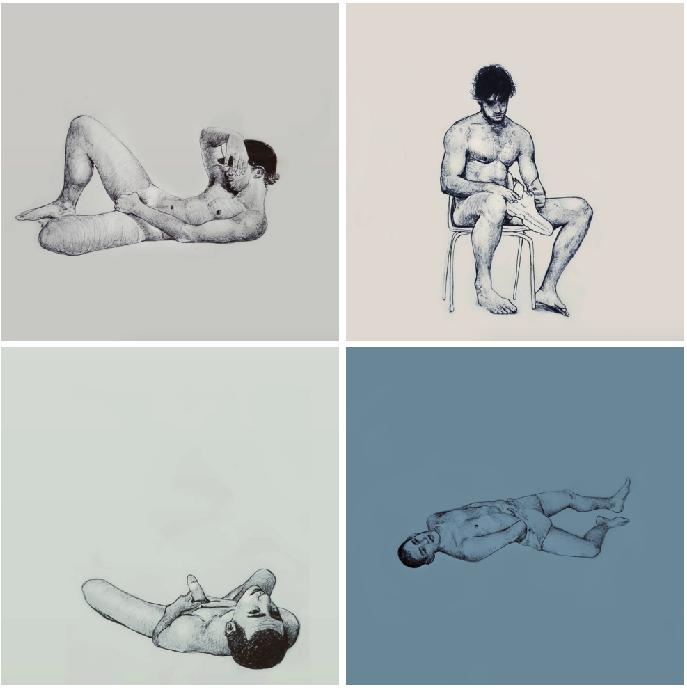 Ilustraciones de hombres explorando sus propios cuerpos 2