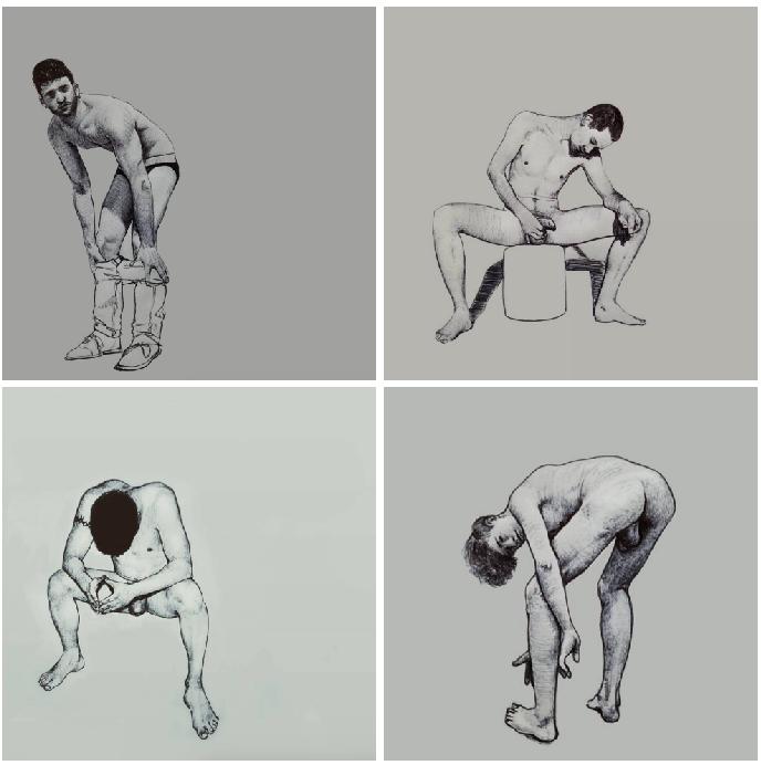 Ilustraciones de hombres explorando sus propios cuerpos 3