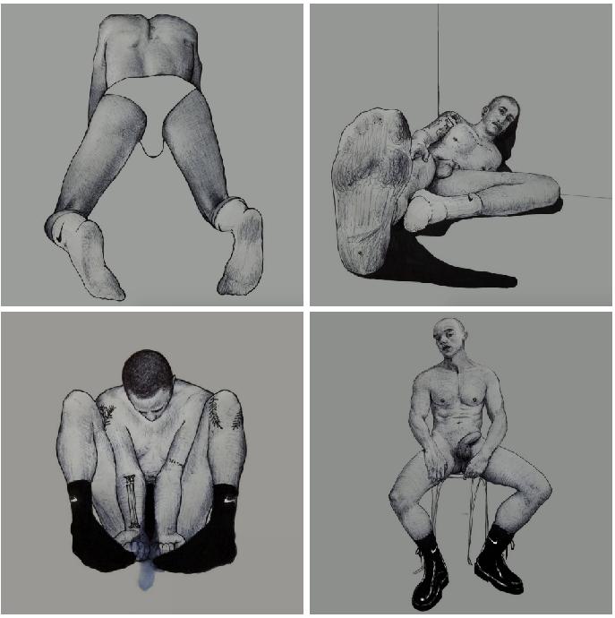 Ilustraciones de hombres explorando sus propios cuerpos 4