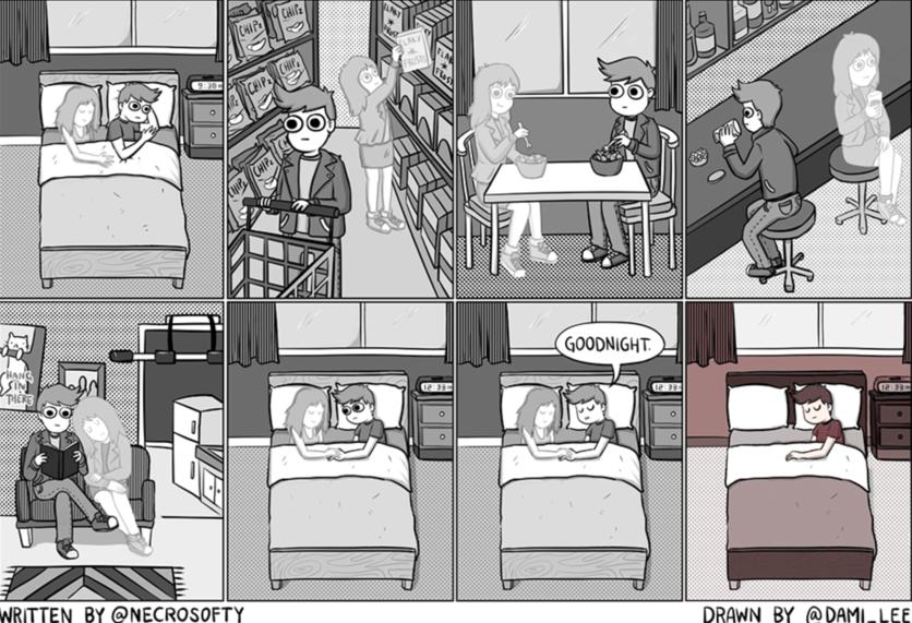 Ilustraciones que muestran lo que ellos sufren tras una ruptura amorosa 13