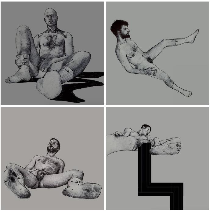 Ilustraciones de hombres explorando sus propios cuerpos 1