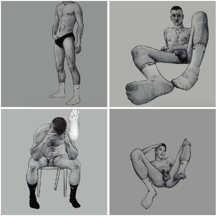 Ilustraciones de hombres explorando sus propios cuerpos 0