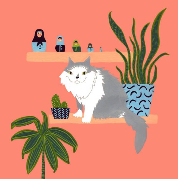 kelly bjork joyfull illustrations cat-w600-h600