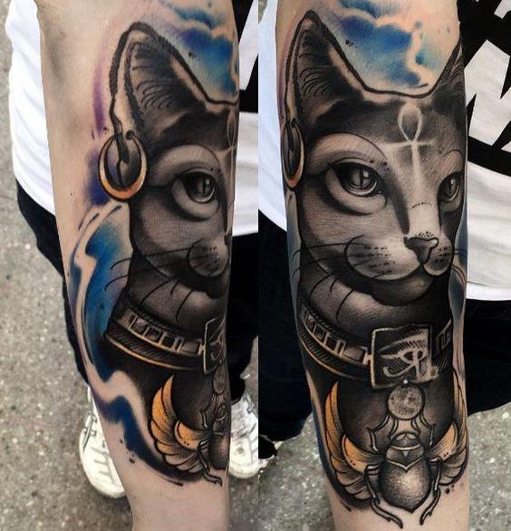 tatuajes de simbolos egipcios bastet