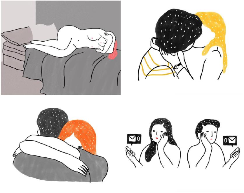Ilustraciones de mujeres que permiten que les rompan el corazón 2