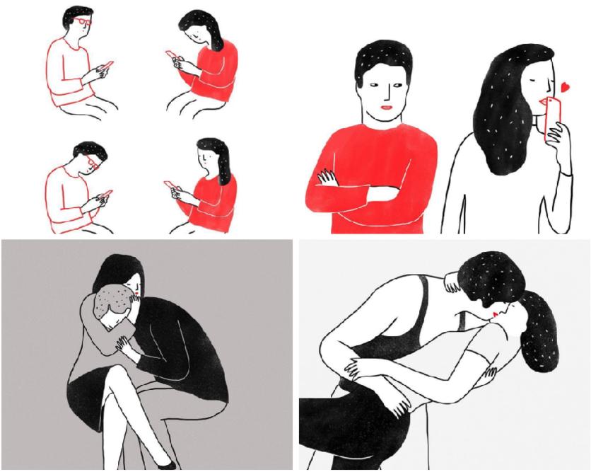 Ilustraciones de mujeres que permiten que les rompan el corazón 4