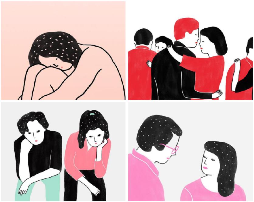 Ilustraciones de mujeres que permiten que les rompan el corazón 0