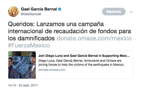 gael garcia y diego luna piden donativos para mexico 1