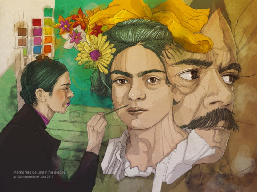 Ilustraciones de los 4 amores que cambiaron la vida de Frida Kahlo 2