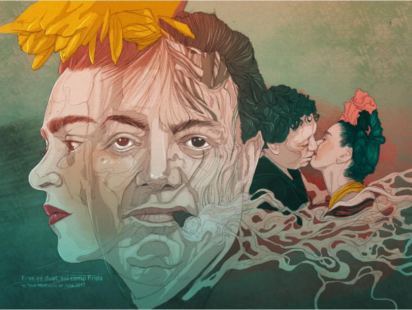 Ilustraciones de los 4 amores que cambiaron la vida de Frida Kahlo 3