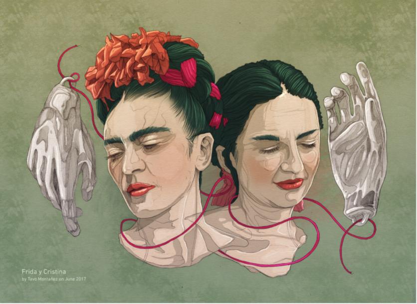 Ilustraciones de los 4 amores que cambiaron la vida de Frida Kahlo 4