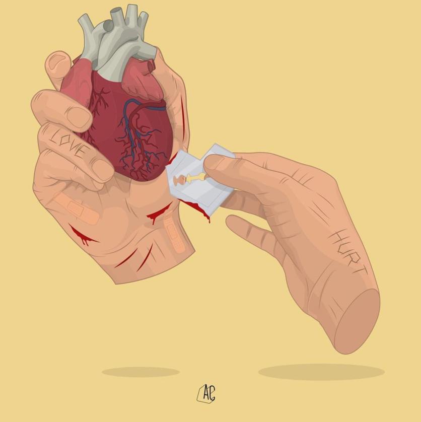 Ilustraciones de Álvaro Castro sobre corazones rotos 7