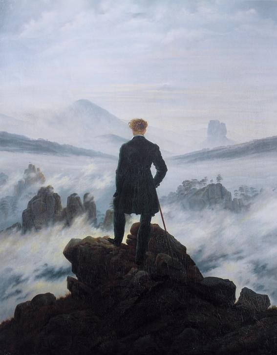 pintura el caminante sobre el mar de nubes 1