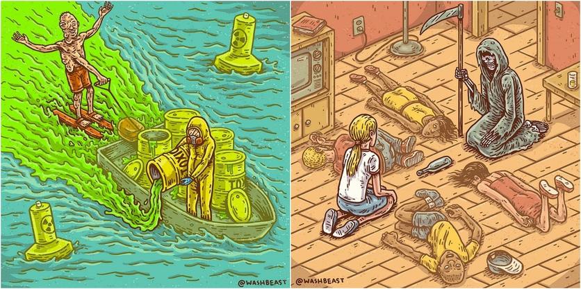 Ilustraciones de Tommy Washbush para entender el absurdo mundo en el que vivimos 0