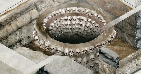 tzompantli tower of human skulls in mexico 4