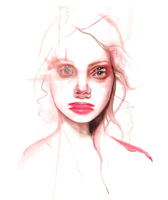 ilustraciones sobre rostros de mujer de monica loya 11
