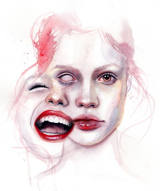 ilustraciones sobre rostros de mujer de monica loya 14