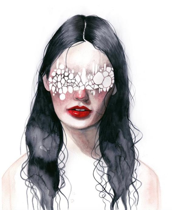 ilustraciones sobre rostros de mujer de monica loya 19