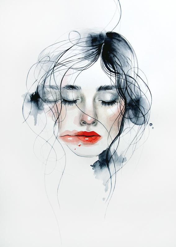 ilustraciones sobre rostros de mujer de monica loya 21