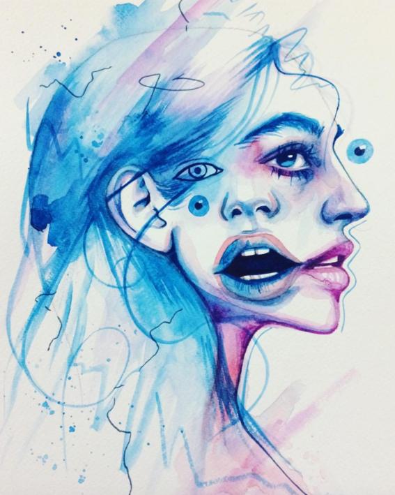 ilustraciones sobre rostros de mujer de monica loya 26