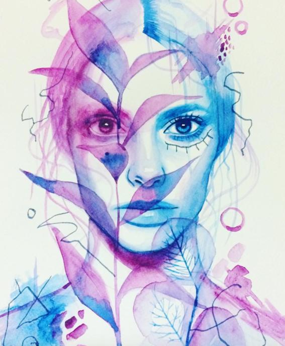 ilustraciones sobre rostros de mujer de monica loya 27