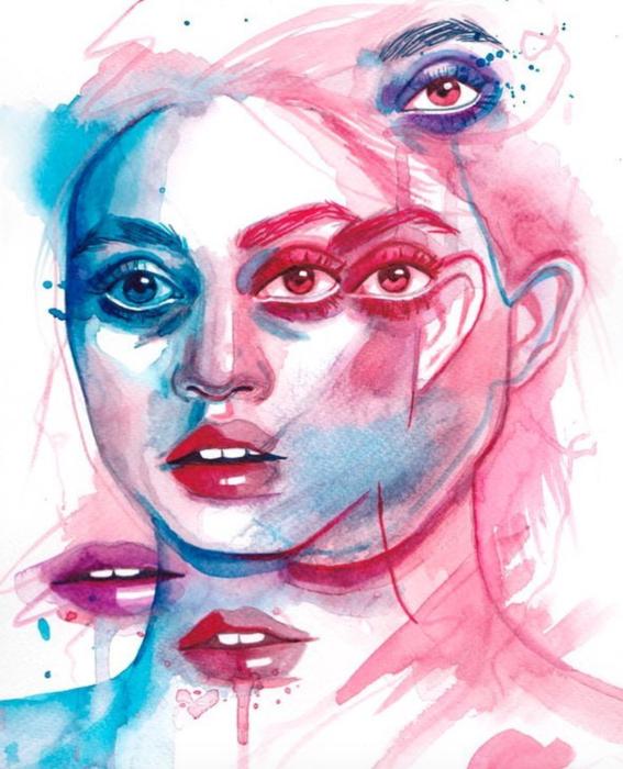 ilustraciones sobre rostros de mujer de monica loya 2