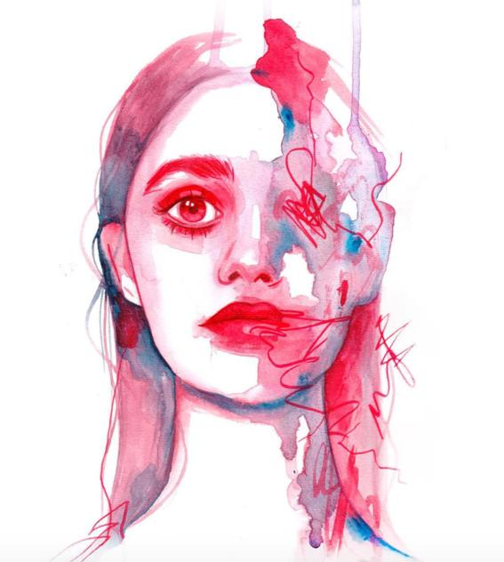 ilustraciones sobre rostros de mujer de monica loya 31