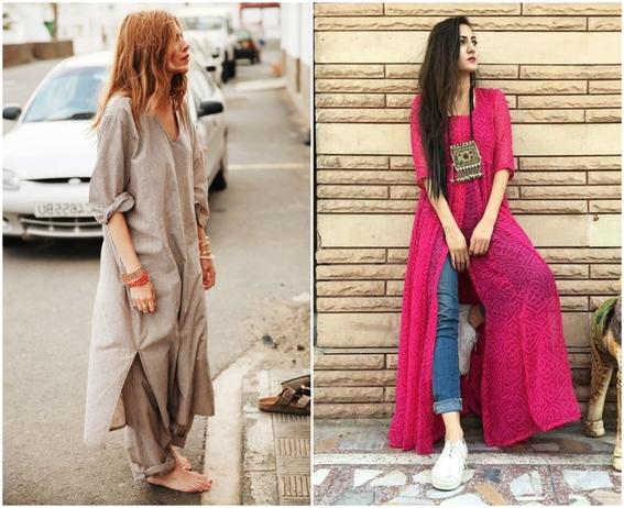 formas de llevar vestido con jeans 6
