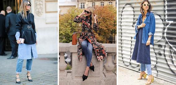 formas de llevar vestido con jeans 1