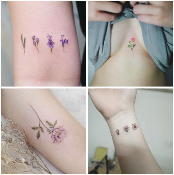 tatuajes de flores minimalistas 2