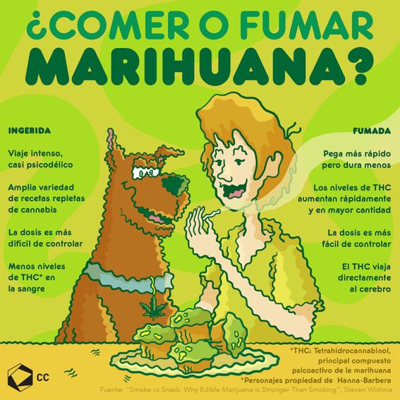 infografia diferencias entre comer y fumar marihauna 1