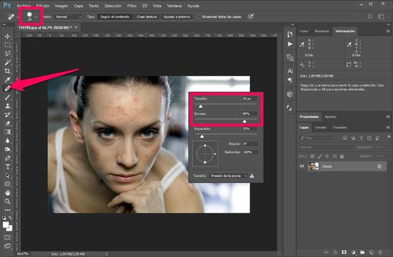 como quitar imperfecciones con photoshop 2