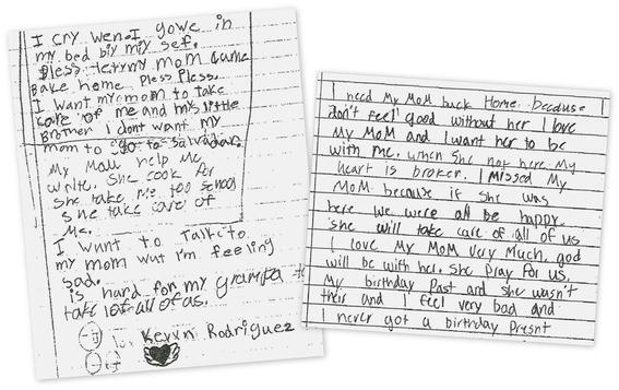 cartas de ninos separados de sus madres en eua 1