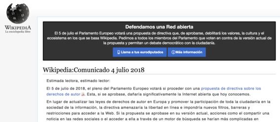 wikipedia cierra temporalmente por reforma de derechos de autor 1