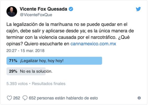 vicente fox sera embajador de empresa de marihuana 1