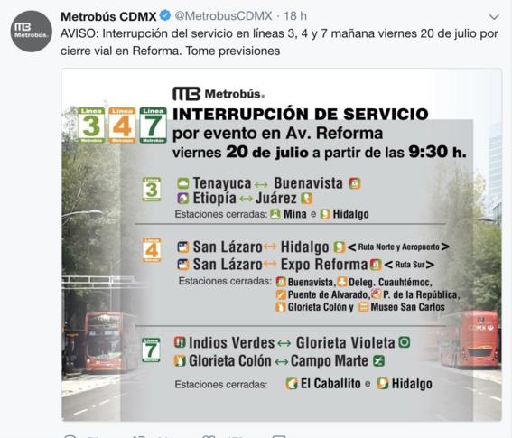 suspenden servicio en diez estaciones de metrobus cdmx 1