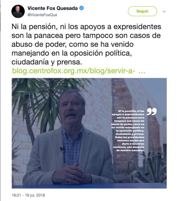 vicente fox pide reconocer labor de expresidentes y defiende pension 1