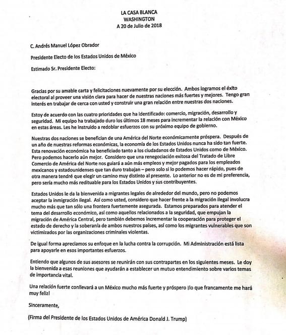 amlo recibe carta de respuesta de donald trump 3
