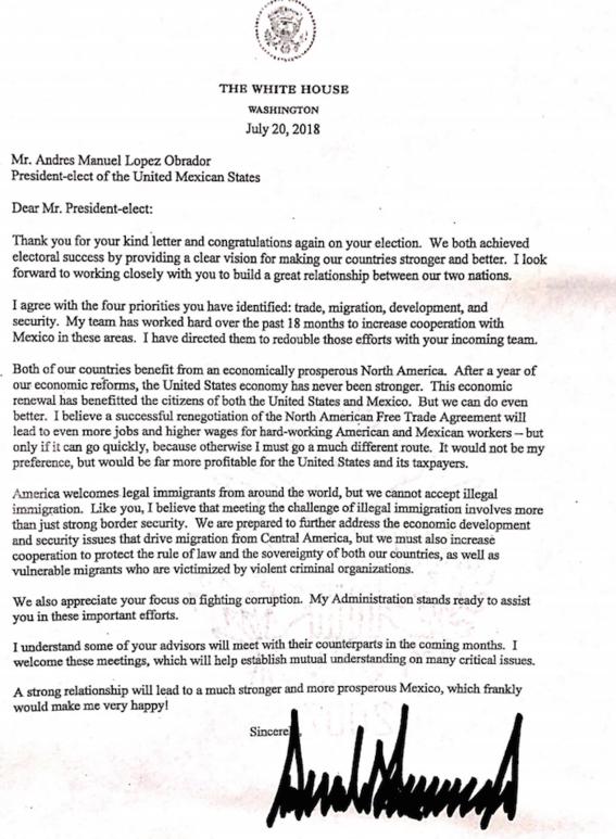 amlo recibe carta de respuesta de donald trump 2